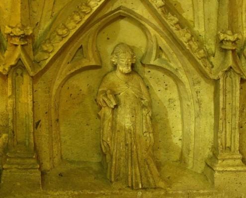 Relieve del sepulcro gótico de la iglesia de la Asunción de Nuestra Señora de Santa Cruz de Campezo / Santikurutze Kanpezuko Andre Mariaren Jasokundea Parrokia-elizaren erliebea